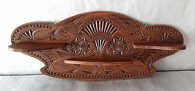 Antique Dutch Frisian Hand Made Chip Carved Wood Wall Shelf
