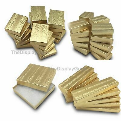"""US SellerLot of 100 pcs 1 7/8""""x1 1/4""""x5/8"""" Gold Cotton Filled Jewelry Gift Boxes"""