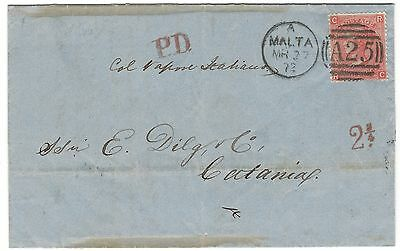 1872 GB QV USED ABROAD IN MALTA A25 1865-67 4d ON COVER TO CATANIA RED PD 2 3/4