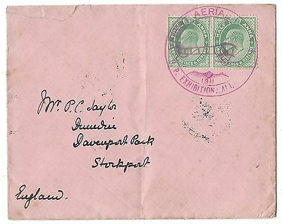 India Kevii 1911 First Aerial Post Up Exhibition Allahabad Cover To England