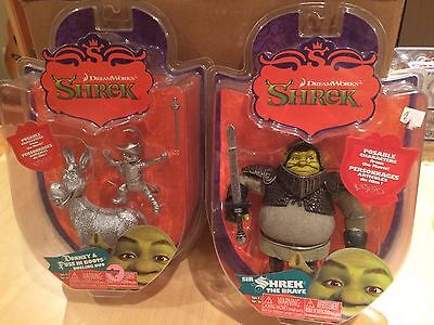 Dreamworks Shrek the Brave Action Figure Lot Silver Variant Donkey Puss in Boots