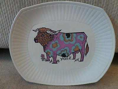 Vintage kitsch 1970s Bull Beefeater steak and grill plate, Ironstone Pottery