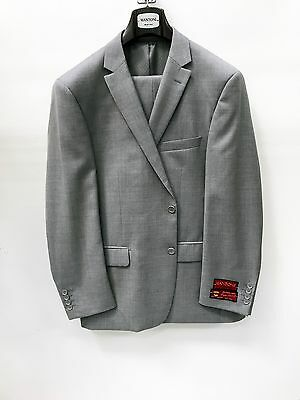 NEW Mens Light Gray Solid Suit Premium 100% Wool Mantoni Modern Fit 2 Button