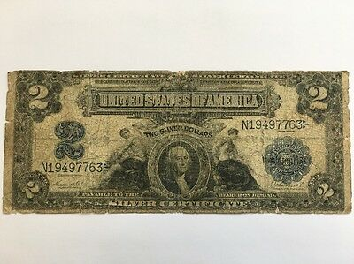 1899 $2 Two Dollar Bill United States Silver Certificate Large Currency Note