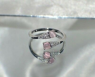"""1.24ct NATURAL PINK OPAL """" CATS EYE""""  GENUINE TOPAZ STERLING  SILVER RING"""