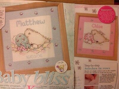 (G) Teddy Bear New Baby Birth Sampler Boy And Girl Cross Stitch Chart