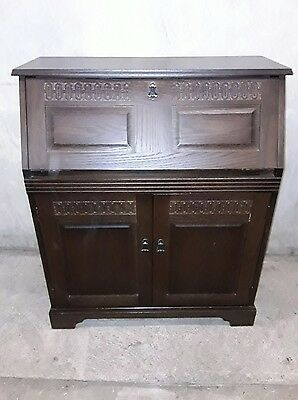 Oak Bureau - Panelled  Fall- Old Charm Style - Great Condition