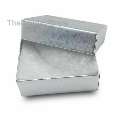 "Lot of 100 pcs 1 7/8""x1 1/4""x5/8"" Silver Cotton Filled Jewelry Gift Boxes"