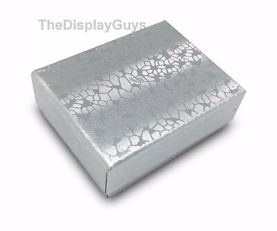 "US Seller~25 pcs 1 7/8""x1 1/4""x5/8"" Silver Cotton Filled Jewelry Gift Boxes"