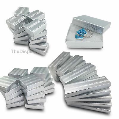 "Lot of 50 pcs 1 7/8""x1 1/4""x5/8"" Silver Cotton Filled Jewelry Gift Boxes"