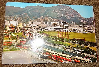 Vintage Old 1969 Postcard The Road To Kai Tak Airport Hong Kong Bus Cars Planes
