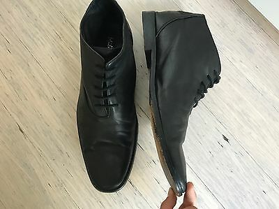Australian made high quality men's black leather lace up dress shoes boots, 10
