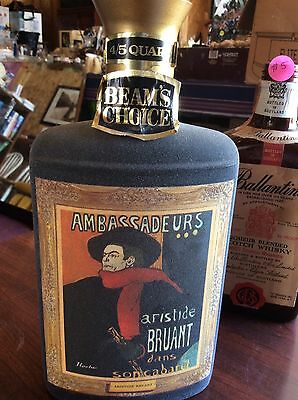 Rare Beam's Choice Collectible Aristide Bruant Whiskey Decanter With Lid & Tag