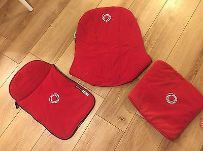 Bugaboo cameleon Red 3 Piece Tailored Fabric Set Hood Apron Seat Liner