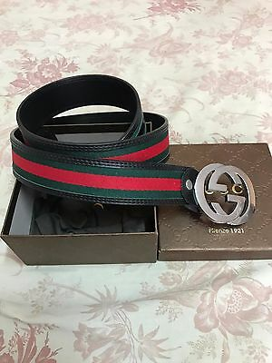 NWT Authentic Gucci Men's Black, Red, Green Leather Web Stripe Belt