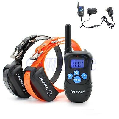 Deep Waterproof Rechargeable LCD Electric Remote 2 Dog Training Shock Collar GW
