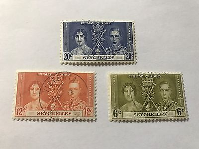 Seychelles #122-124 used hinged  1937 Coronation   (D03337)
