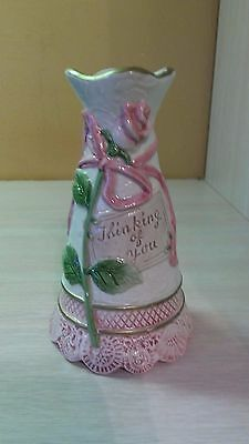 """1996 Fitz & Floyd Omnibus Hand Painted Candle Holder 6.25""""  Thinking of You"""
