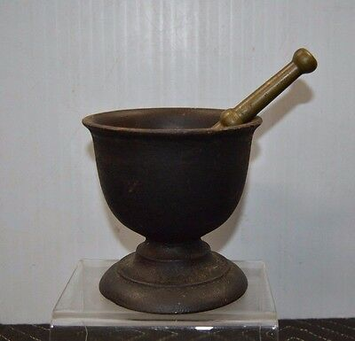 "ANTIQUE Fine Cast Iron Mortar with Solid Brass Pestle 5"" x 5"""