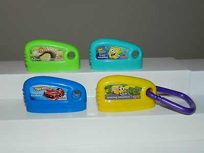 4 Fisher Price Smart Cycle Game Cartridges Dinosaurs Hot Wheels Spongebob