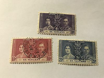 St.Vincent #138-140   used hinged  1937 Coronation   (D03343)