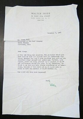 A Raisin in the Sun ~ 1960 GM Walter Fried Letter to Stage Manager James E. Wall