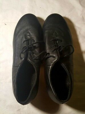 Bloch Black Leather Jazz Tap Shoes Girl's/Women's Size 7M Shockwave