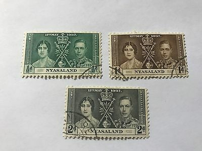 Nayasaland #51-53  used hinged  1937 Coronation   (D03346)