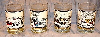 Vintage Currier and Ives Arby's Glass 1978 The Road In Winter Glass 1 of 4