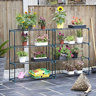 2X Flower Staging Shed Greenhouse Racking Shelving Storage Shelves Double Pack