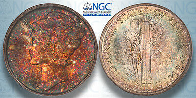 1945-S Mercury Dime NGC MS66! Superb TRUE MONSTER Rainbow Color Toned! A20