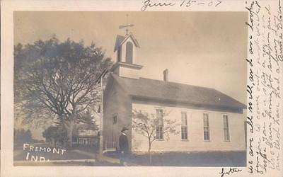 Postcard Fremont, Indiana 1907 RPPC Pastor and His Church Fremont, Indiana