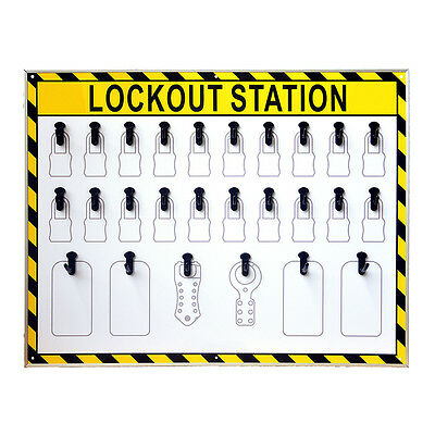 ST 26 Hooks Security Lockout Station for Safety Padlocks,Unfilled, Station Only