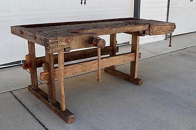 Early Antique Primitive Wood Industrial Carpenters Workbench Table 2 Vises