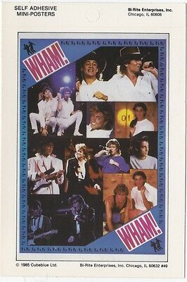 Wham! Collectible 1985 Self Adhesive Mini-Poster MINT