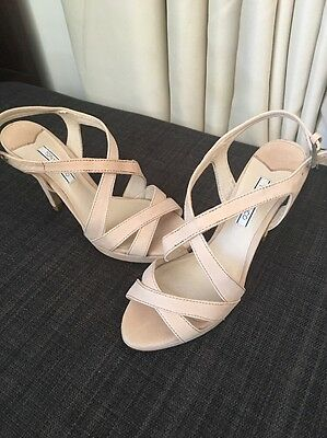Tony Bianco Nude Leather Heels Sandals 6.5