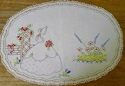 Vintage  Embroidered Doily Crinoline Lady
