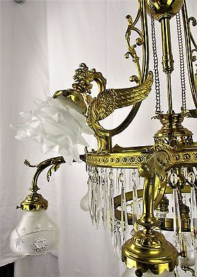 Impressive Brass Gas Castle Chandelier Dragons Gothic etched glass 62""