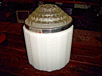 Vintage Milk Glass / Clear Art Deco Skyscraper Shade Ceiling Light Globe