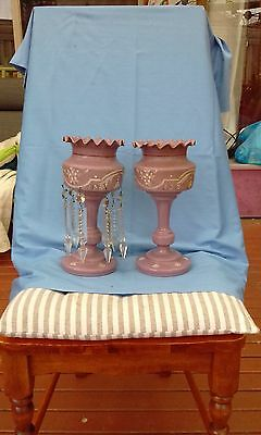 matching pair of antique luster vases
