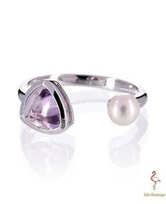 Ring Open Amethyst Fresh Water Pearl Rhodium Plated Over Addison Sterling Silver