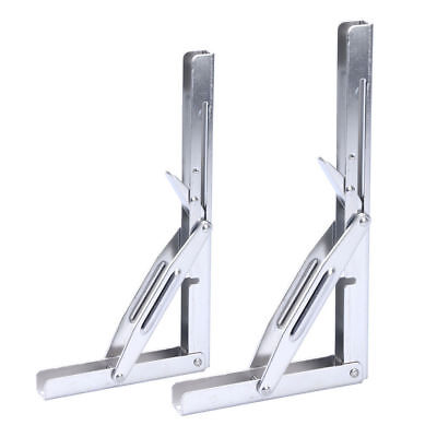 2 PCS  Polished Stainless Folding Shelf Bench Table Folding Bracket AU FAST SHIP