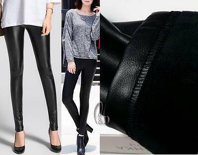Au Stock High Rise Black Pu Leather Winter Warm Fleece Lined Pants Leggings P041