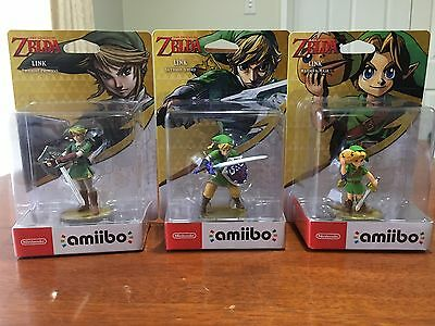 Legend of Zelda Amiibo Set: Link Twilight Princess, Skyward Sword, Majora's Mask