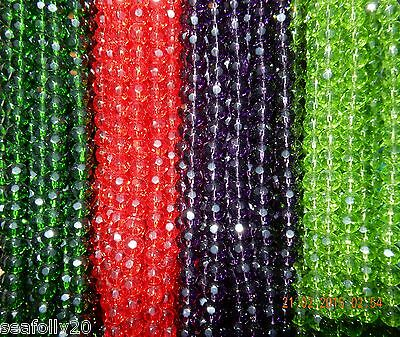 1 x 8mm  RED strand faceted round glass bead combined post savings