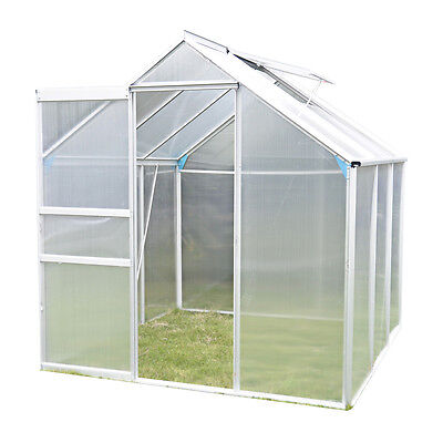 Aluminium Frame Polycarbonate Clip Greenhouse With Foundation Base 6X4M UK Stock