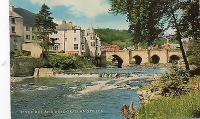 Postcard Wales The River Dee and Bridge Llangllen  posted Salmon