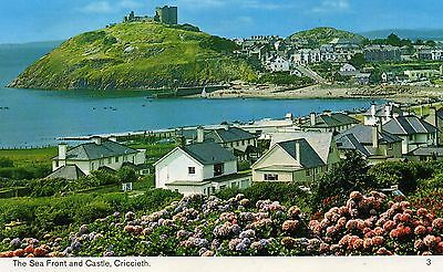 Postcard Wales the sea front and castle Criccieth unposted  Bamforth