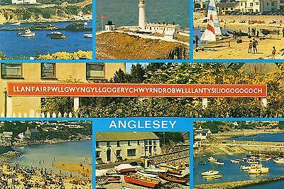 Postcard    Anglesey multi view  unposted  Salmon