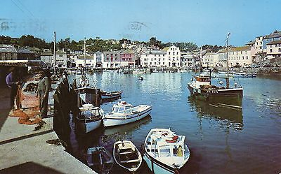 Postcard   Wales  Inner harbour and town Mevagissey poster